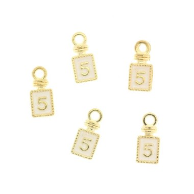 Zawieszki do bransoletek perfum chanel No.5  2szt KC gold 12x6x1mm  AKG184