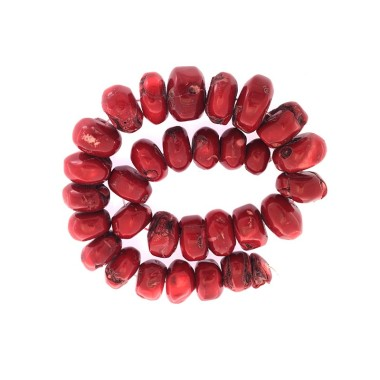 Coral red wormy graded rope...
